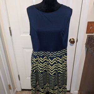 Navy Blue & Yellow Xhilaration Dress - Sz XXL